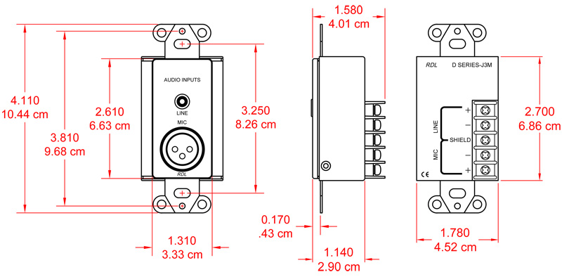 mic/line input assembly - xlr microphone/audio input stainless