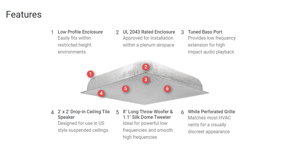 Two-Way SoundField Ceiling Tile Speaker